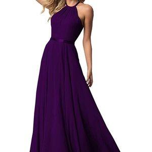 Plum halter top bridesmaid dress